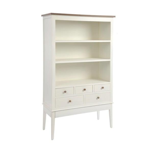 Dřevěná knihovna se zásuvkami Cream, 158 cm