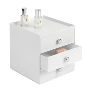 Bílý úložný box s 3 šuplíky InterDesign, výška18 cm