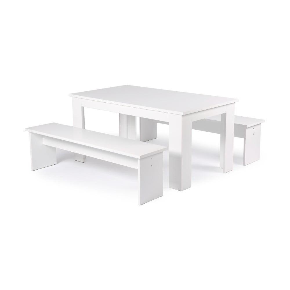 Set bílého jídelního stolu a 2 lavic Intertrade München, 140cm