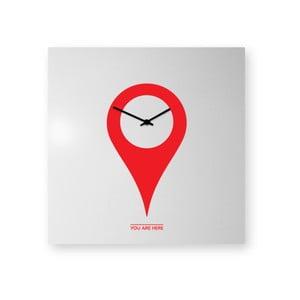 Nástěnné hodiny dESIGNoBJECT.it You Are Here Red On White,50x50cm