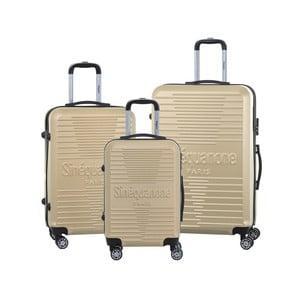 Sada 3 cestovních kufrů v barvě champagne na kolečkách se zámkem SINEQUANONE