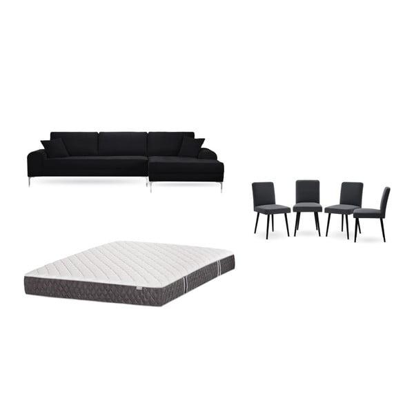 Set canapea neagră cu șezlong pe partea dreaptă, 4 scaune gri antracit și saltea 160 x 200 cm Home Essentials