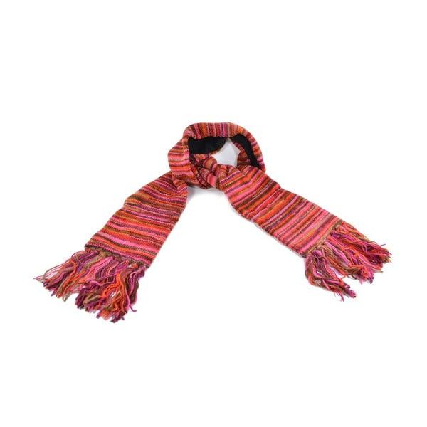 Vlněná šála s fleecovou podšívkou Spacedye Red