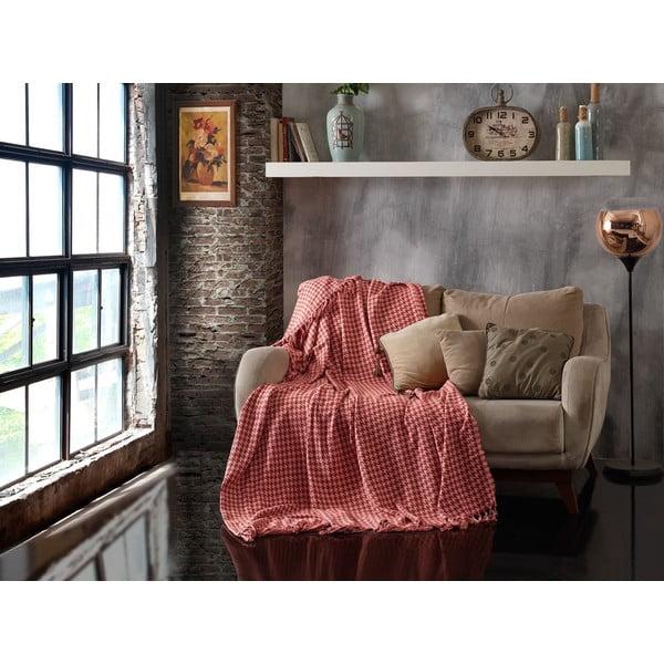 Throw Brick Red Light Pink rózsaszín kétszemélyes pamut ágytakaró, 200 x 230 cm - EnLora Home