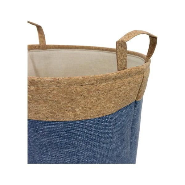 Coș din țesătură de plută pentru rufe Furniteam Home, ⌀ 37 cm, albastru - maro