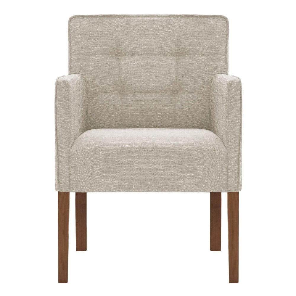 Krémově bílá židle s tmavě hnědými nohami z bukového dřeva Ted Lapidus Maison Freesia