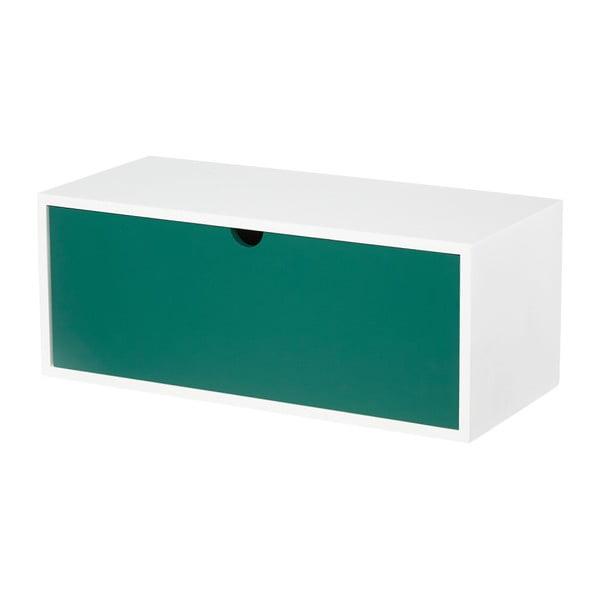 Bilo-zelený nástěnný odkládací stolek se zásuvkou Furniteam Design