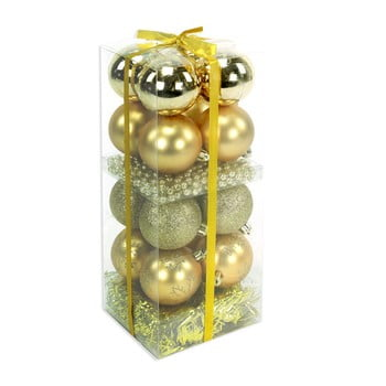 Set 16 decorațiuni de Crăciun și ghirlandă Unimasa Brightness, auriu imagine