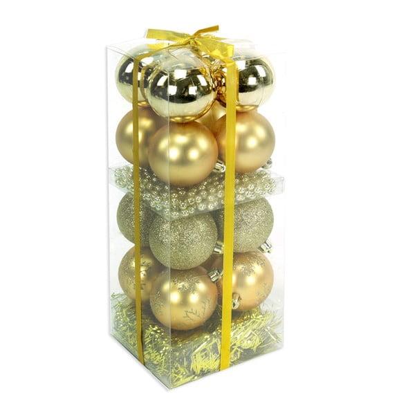 Set 16 decorațiuni de Crăciun și ghirlandă Unimasa Brightness, auriu