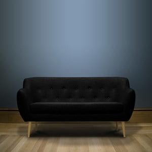 Černá trojmístná pohovka se světlými nohami Mazzini Sofas Sicile