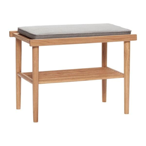 Sivá lavica s policou Hübsch Mirenno, dĺžka 60 cm