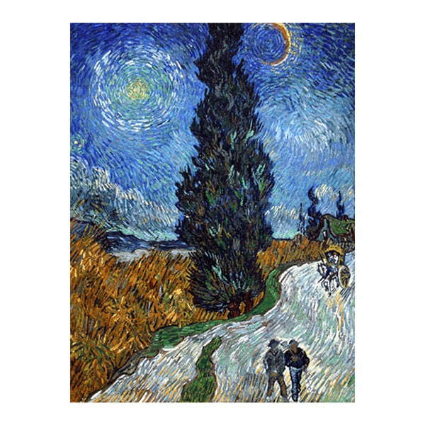 Obraz Vincenta van Gogha - Country road in Provence by night, 40x30 cm