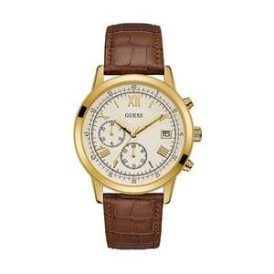 Pánské hodinky s páskem z ušlechtilé kůže v hnědé barvě Guess W1000G3