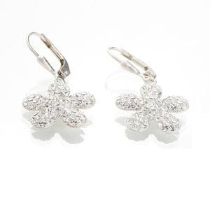Bílé náušnice se Swarovski krystaly Yasmine Flower