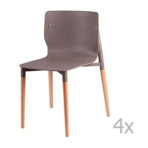 Set 4 scaune cu picioare din lemn sømcasa Alisia, gri deschis