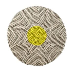 Vlněný koberec Wool Mat Round Lime, 90x90 cm