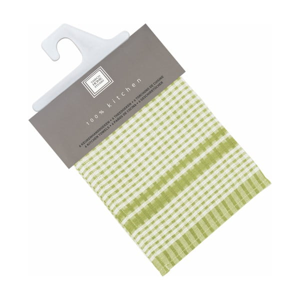 Sada 6 zelených bavlněných utěrek Tiseco Home Studio Cristal, 50 x 70 cm