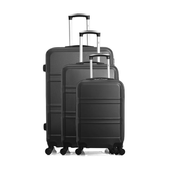 Zestaw 3 czarnych walizek na kółkach Hero Utah