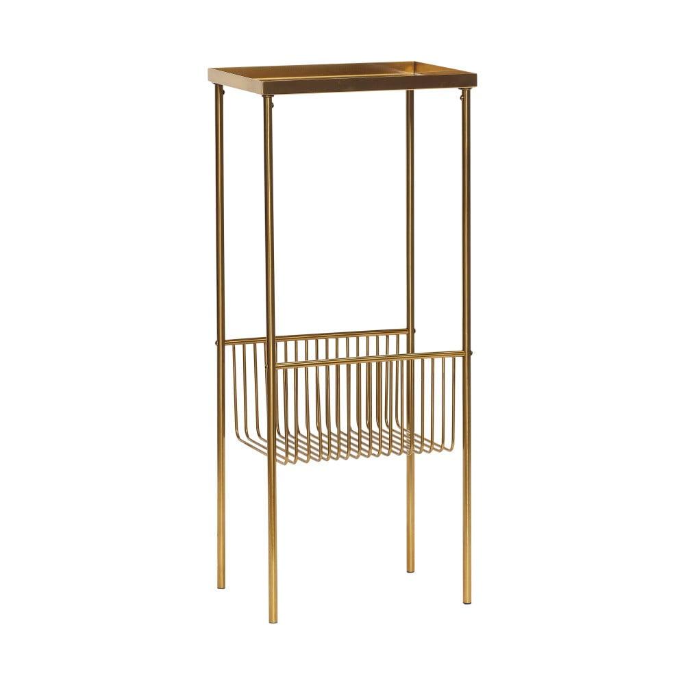 Konzolový stolek v mosazné barvě s přihrádkou na časopisy Hübsch Birthe Hübsch