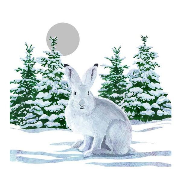 Balení 10 papírových ubrousků s vánočním motivem PPD Snow Rabbit