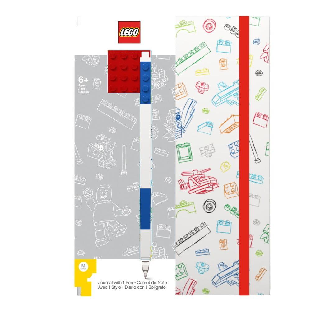Červenobílý zápisník A5 s modrým perem LEGO®