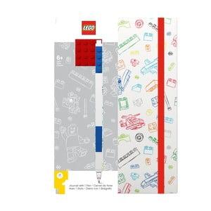 Caiet notițe A5 cu pix albastru LEGO®, roșu - alb, 96 pag.