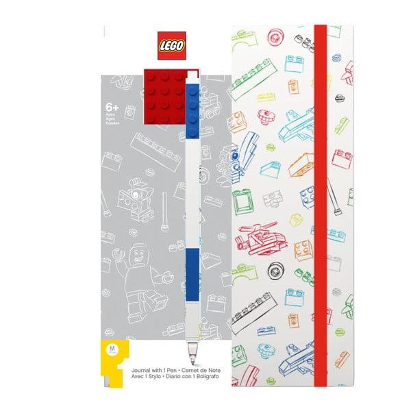 Červenobílý zápisník A5 s modrým perem LEGO®, 96stran