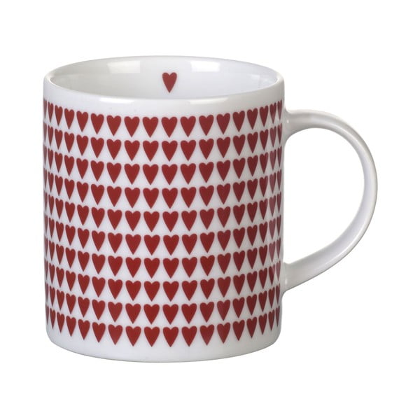 Červený porcelánový hrnek Parlane Hearts, 8,5cm