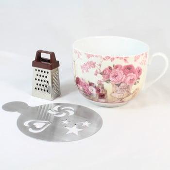 Cană din ceramică cu răzătoare și suport Dakls Pinky, 420ml