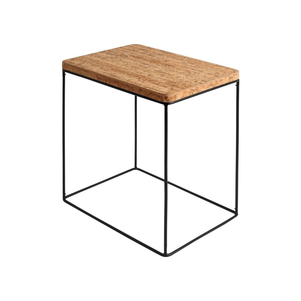 Odkládací stolek s korkovou deskou a černou konstrukcí Custom Form Estimo, šířka 53 cm