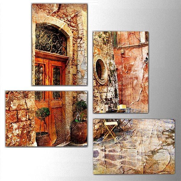 4dílný obraz Old Door, 76x76 cm