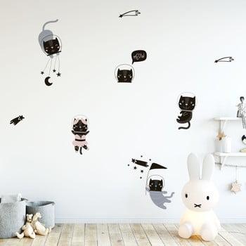 Set autocolante pentru perete Ambiance Scandinavian Animals Cosmonaut Cats de la Ambiance