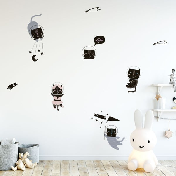 Sada nástěnných dětských samolepek Ambiance Scandinavian Animals Cosmonaut Cats