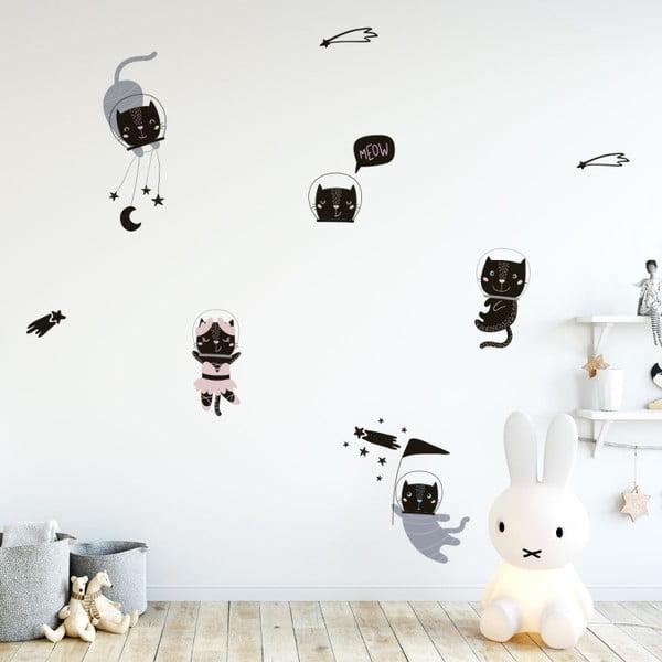 Set autocolante pentru perete Ambiance Scandinavian Animals Cosmonaut Cats