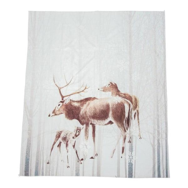 Bílá deka J-Line Deer, 130x160 cm