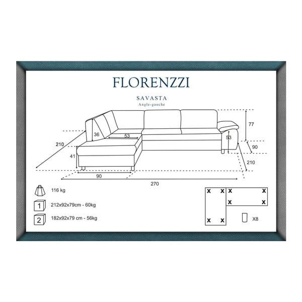 Tmavě modrá pohovka Florenzzi Savasta s lenoškou na levé straně