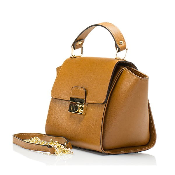 Koňakově hnědá kožená kabelka Lisa Minardi Alice