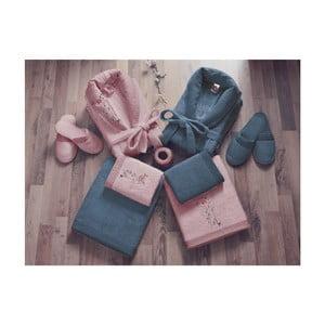 Set dámského a pánského županu, ručníků, osušek a dvou párů pantoflí v růžové a modré barvě Family Bath