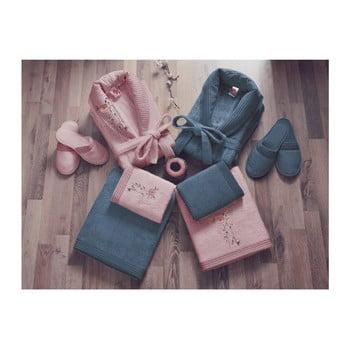 Set halate de femeie și bărbat, 2 prosoape și 2 perechi papuci Family Bath, roz – albastru de la Cotton Box