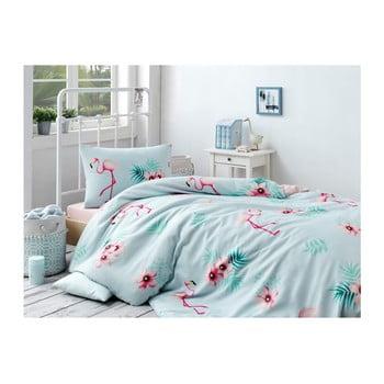 Set lenjerie de pat și cearșaf din bumbac Rassido Lessno, 160 x 220 cm de la EnLora Home