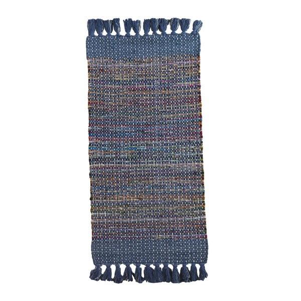 Niebieski dywan we wzory Geese Ceylon, 120x60 cm