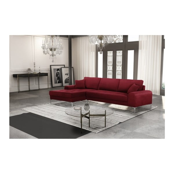 Set canapea roșie cu șezlong pe partea stângă, 4 scaune taupe și saltea 160 x 200 cm Home Essentials