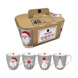 Sada 4 hrnků z kostního porcelánu s vánočním motivem v dárkovém balení PPD Xmas Mugs, 350 ml