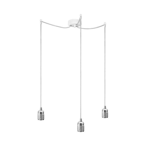 Závěsné svítidlo s bílým kabelem a objímkou ve stříbrné barvě Bulb Attack Uno