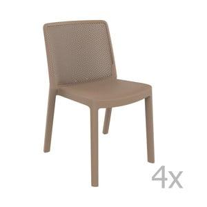 Sada 4 pískově hnědých zahradních židlí Resol Fresh Garden