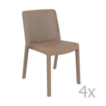Set 4 scaune de grădină Resol Fresh Garden, maro fistic de la Resol