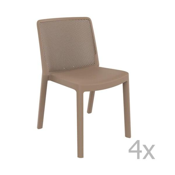 Zestaw 4 piaskowobrązowych krzeseł ogrodowych Resol Fresh Garden
