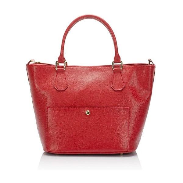 Červená kožená kabelka Giulia Massari Jacqueline
