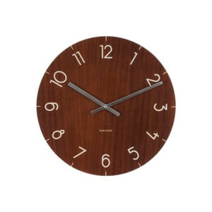 Ceas de perete Present Time Glass Wood, maro