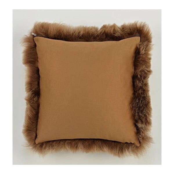 Hnědý kožešinový polštář s krátkým chlupem Rusty, 35x35cm